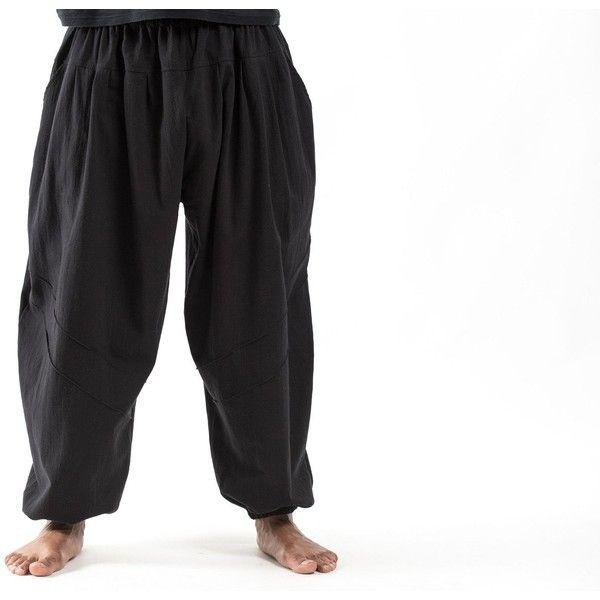 Genie Men's Cotton Harem Pants in Black ($24) ❤ liked on Polyvore featuring men's fashion, men's clothing, men's pants, men's casual pants, mens elastic waistband pants, mens stretch waist pants, mens elastic waist pants, mens harem pants and mens cotton pants