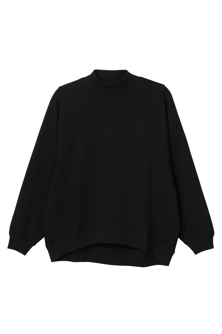 Sweater dressing doesn't have to mean sacrificing style for comfort - because the style is in the comfort, duh! A lightweight sweat with droopy arms that's perfect for layering up. Banded + ribbed edges with a 1/2 polo neck.  colour: black magic In a size small the chest width is 126 cm and the length is 68 cm.