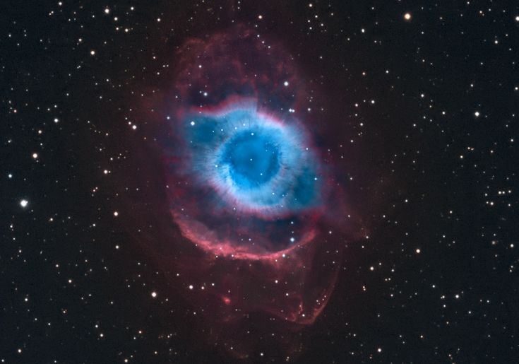 NGC 7293: The Helix Nebula (Oct 4 2012)  Image Credit & Copyright: Martin Pugh  Explanation: A mere seven hundred light years from Earth, in the constellation Aquarius, a sun-like star is dying. Its last few thousand years have produced the Helix Nebula (NGC 7293), a well studied and nearby example of a Planetary Nebula, typical of this final phase of stellar evolution. A total of 58 hours of exposure time have gone in to creating this deep view of the nebula. #astronomy
