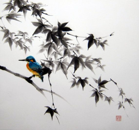 Japanese Ink Painting,Suibokuga,Sumi-e    Kingfisher on a Maple tree branch painted with Sumi - ink and Gansai (Japanese watercolor) on the Japanese