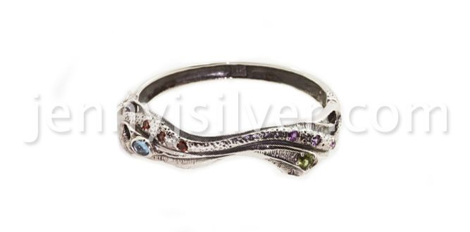Coral Bangle – Handmade silver bracelets Material : Sterling silver 925, Topaz, Peridot, Amethyst, Garnet stones Dimension : circumference : 15.5 cm Weight : 42.5 gram Price : $ 186.00 In Stock : 3 pcs Order it here http://www.jennyjsilver.com/collection-158-Coral-Bangle