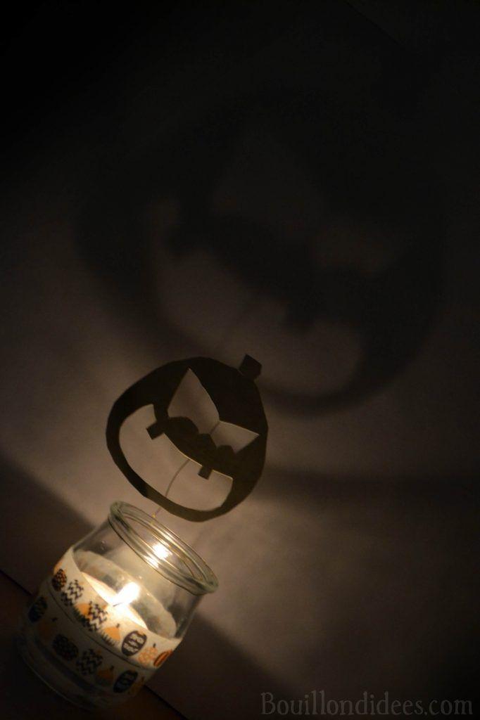 DIY Photophore luminon (lumignon) d'Halloween aux ombres monstrueuses - citrouille effrayante