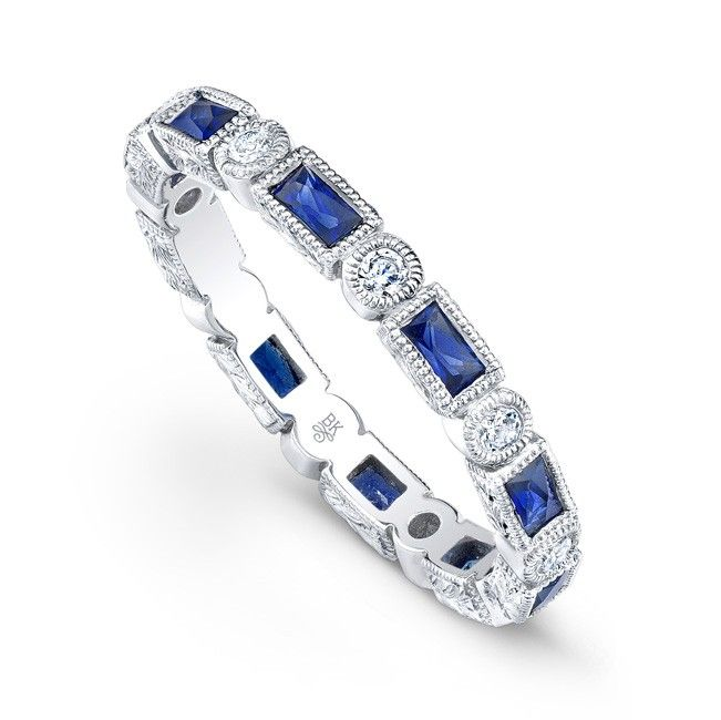 R185 D S Baguette Band Sapphire Baguette And Round