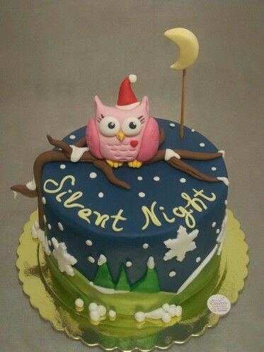 Silent night Christmas owl cake