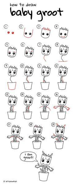 How to draw Baby Groot (baby plant). Easy drawing,…