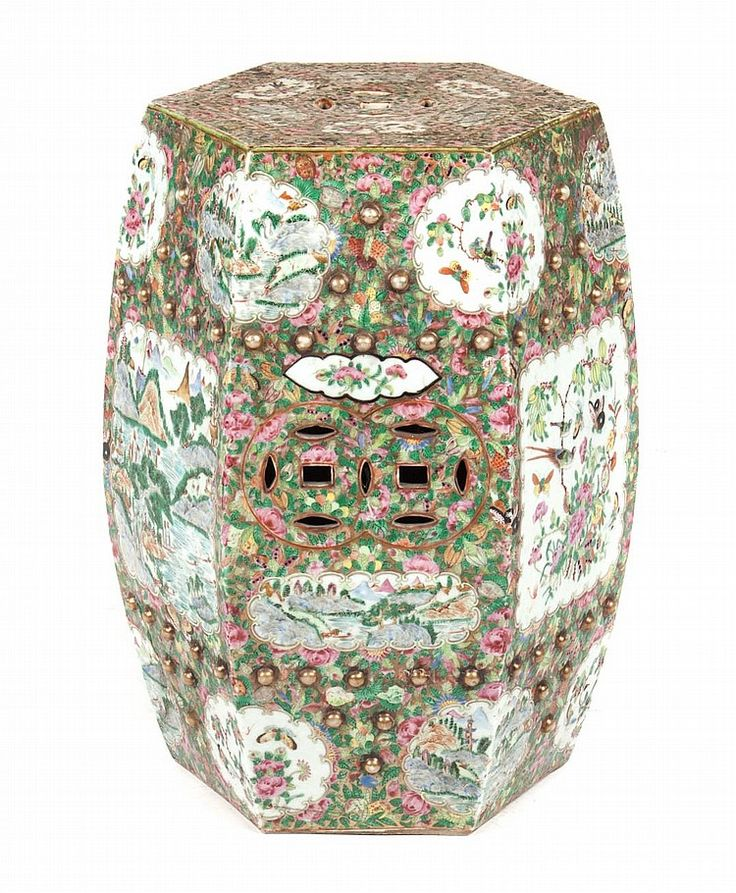 Chinese Export Famille Rose garden seat third quarter-19th century; hexagonal porcelain garden seat with floral and bird vignettes and mountainous river scene vignettes, 19 in. H., 12 in. W.