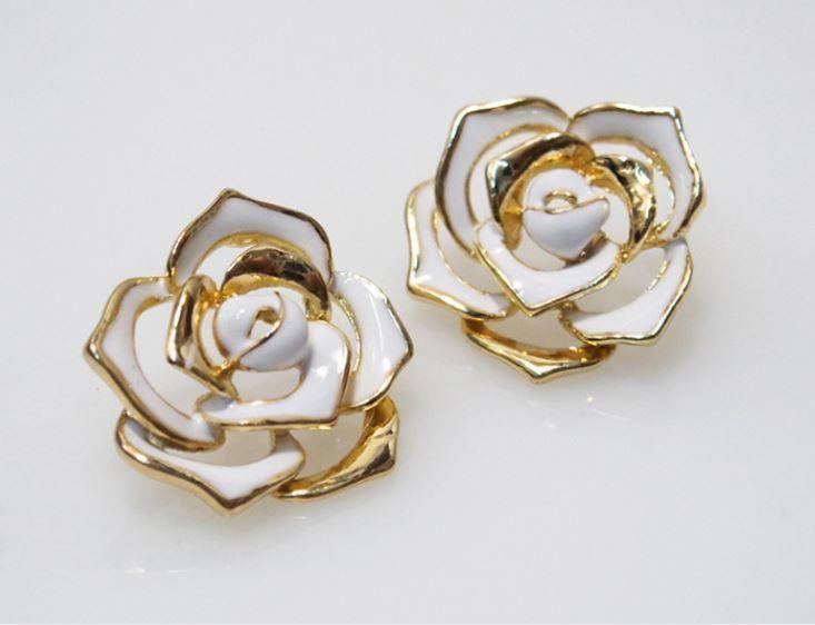 Rose Flower Earings Stud White Gold Color 1pair #Unbranded #DoubleSidedJacket
