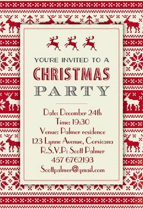 """""""Christmas sweaters pattern"""" printable invitation. Customize, add text and photos. print for free!"""