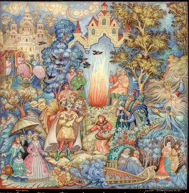 """Сказка """"Двенадцать месяцев"""", Маршак С.Я. http://russkaja-skazka.ru/dvenadcat-mesyacev/ Разбегайтесь, ручьи, растекайтесь, лужи, вылезайте, муравьи, после зимней стужи! Пробирается медведь сквозь лесной валежник. Стали птицы песни петь, и расцвёл подснежник.  #сказки #картинки #ДвенадцатьМесяцевМаршак  #art #Russia #Россия #добро #дети  #иллюстрации #paint #картины #художник #Палех #ЛаковаяМиниатюра #RussianLacquerArt #RussianFairyTales @russkajaskazka"""