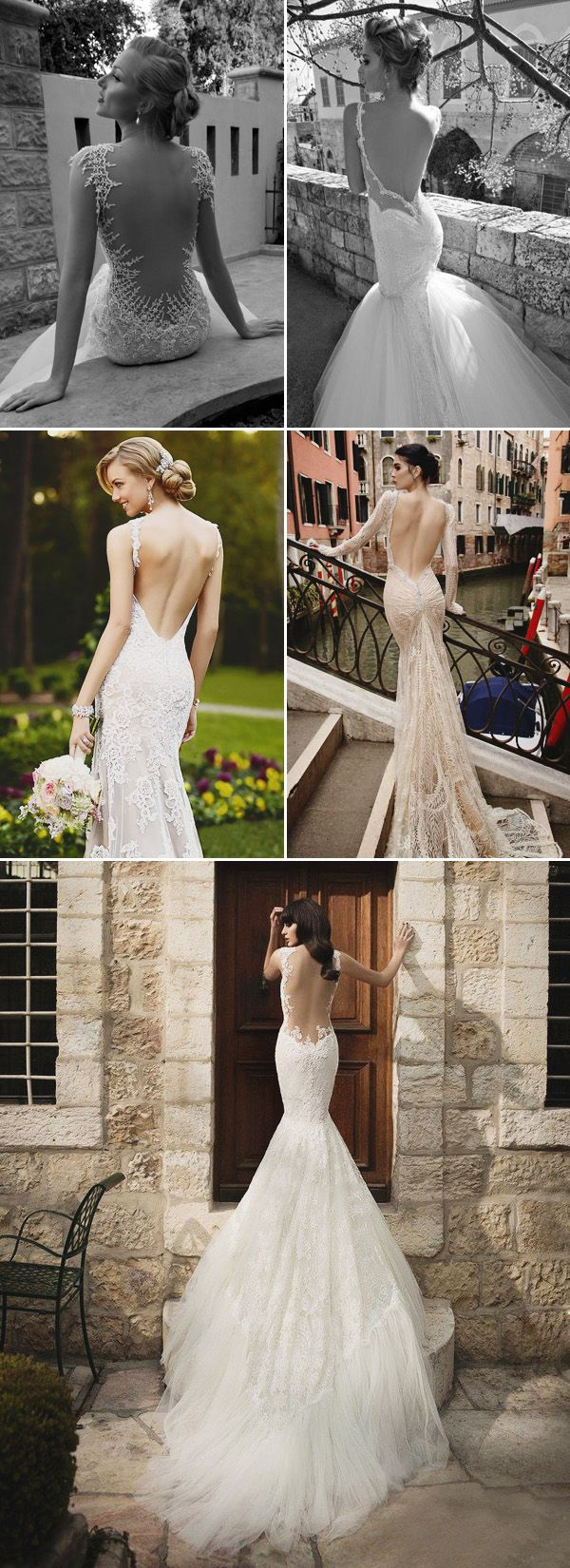 Sexy Deep V-shape Backless Mermaid Wedding Dresses 2015 trends
