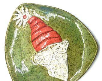 Piatto che serve a Babbo Natale, Babbo Natale biscotto piatto, piatto in ceramica, decorazione di Natale, piatto di ceramica fatti a mano, centrotavola di Natale