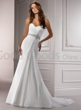 Simple Natural Sheath Sweetheart Floor-length Lace-up Beading Chapel Train Wedding Dresses