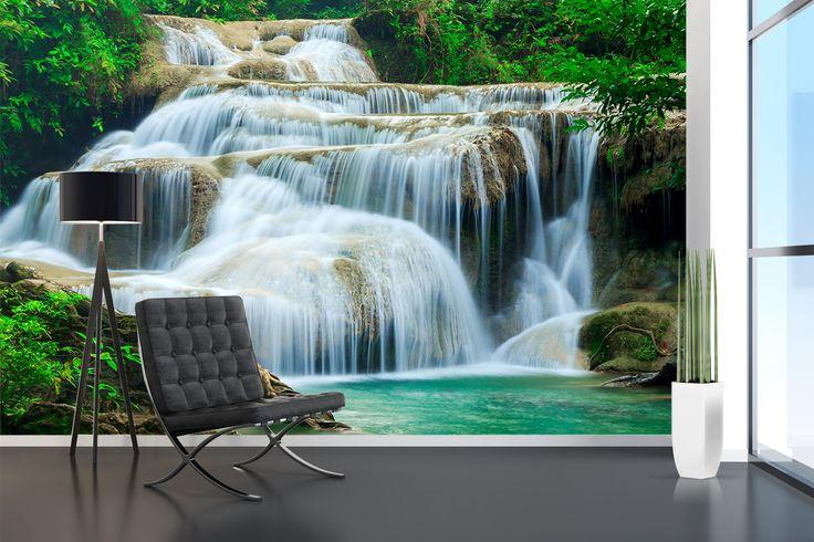 Fotomural Cascadas de Erawan, famosa por su conjunto de 7 diferentes saltos de aguas con pozas esmeraldas y cristalinas. A tan solo $69.000 el metro cuadrado. #fotomurales #naturaleza #cascadas #waterfalls