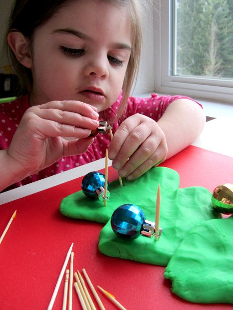 fine motor activities with Christmas ornaments