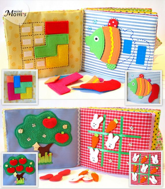 Quiet Book Busy Book Eco friendly educational 12 por MiniMoms