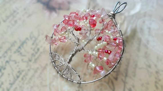 Pink Tourmaline Tree of Life Pendant/Tourmaline Chakra by KnitHugs