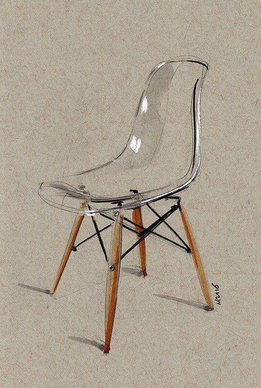 Image of Transparent Eames Side Chair sketch LIMIT…