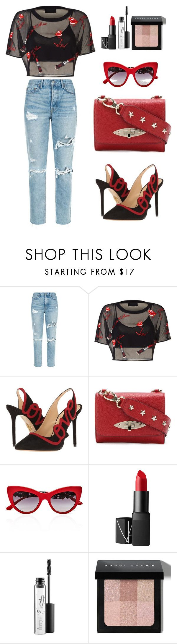 """Mix and Match with Lips Top"" by salbiylaazzara-fashion on Polyvore featuring GRLFRND, Charlotte Olympia, RED Valentino, Dolce&Gabbana, NARS Cosmetics, MAC Cosmetics and Bobbi Brown Cosmetics"