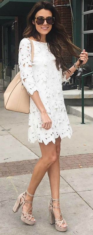 Christine Andrew + fresh as a daisy + beautiful white dress + cut away detailing + strappy nude sandals + dress + gorgeous summery feel   Dress: Nordstrom, Shoes: M Gemi.
