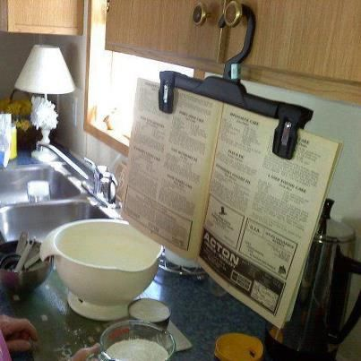 hehe, fun idea _ recipe holder hanger - Google Search