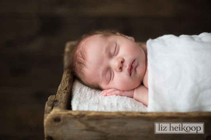 In her wooden crate l Newborn Girl Session l Liz Heikoop Photography