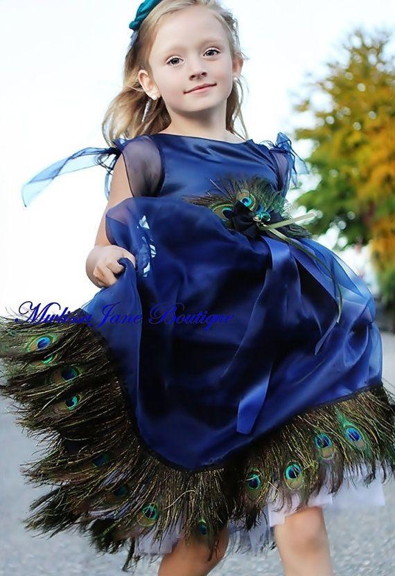 Blue Ocean Girls Peacock Dress by sharpsissors on Etsy, $148.00