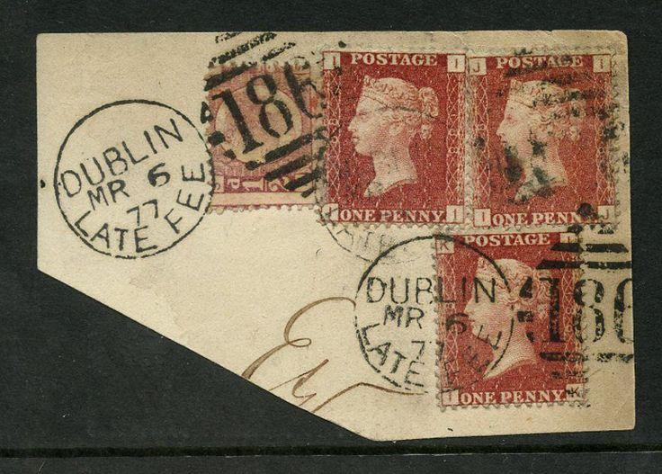 Penny Reds Ireland 1877 Late Fee Duplex Dublin Horizontal Plate 188