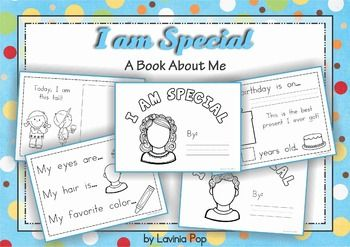 "I Am Special - A book about Me for Kindergarten {FREE} it are simply an electronic update of Diane Senk's ""I'm Special"" book from her blog: http://dbsenk.wordpress.com/category/themes/me-book/ Please take the time to visit her blog for ideas to complement this activity and other great kindergarten resources. 22 pages"