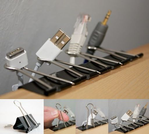 Organize cords with paper clips! This is an excellent ideas...all my chords make part of my living room look like Mission Control! And the tripping! Solved!