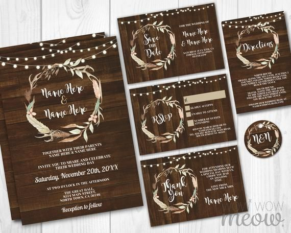 Wedding Invitations Set Template Fall Rustic Wood Antlers Package Printable Invites Save The Date Instant Tags Personalize Editable