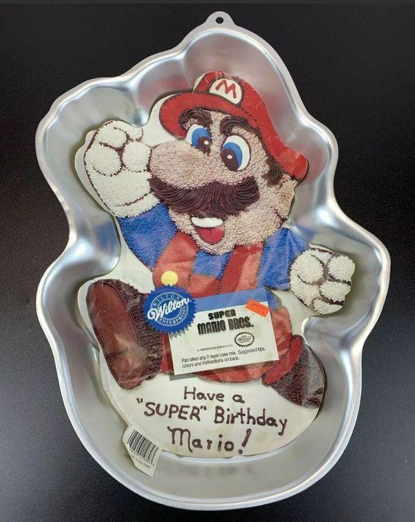Vintage 89 Wilton Super Mario Brothers Cake Pan with Insert 2105-2989 Bros Baking Birthday Retro