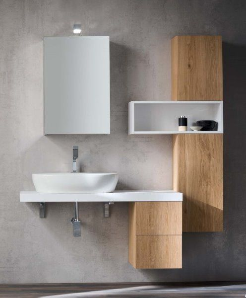 Minimalist teak-effect bathroom furniture.