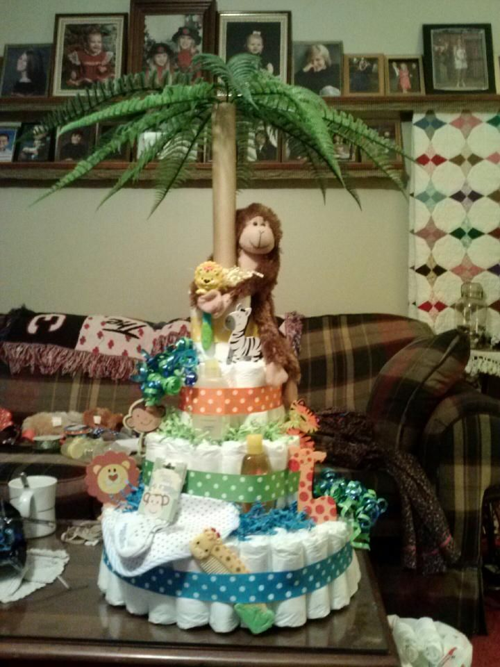 Find This Pin And More On Baby Shower Ideas By Akidnia. Jungle Themed  Diaper Cake BJ Made
