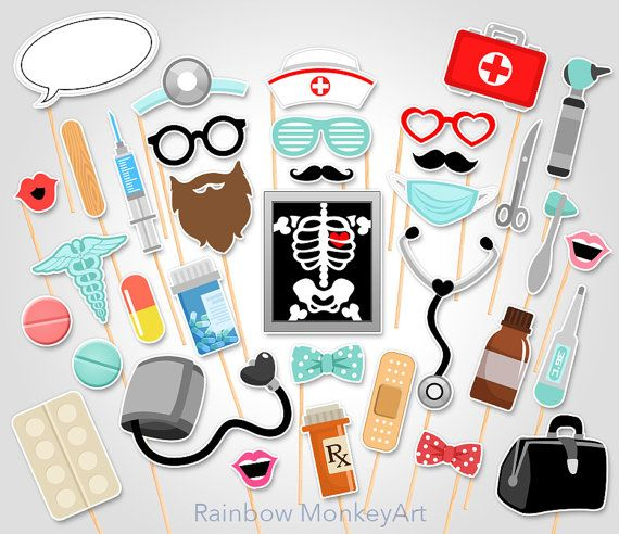 Doctor Printable Photo Booth Props - Nurse Photo Booth Props - Medical Photo Booth Props - Medical Graduation Photo Booth Props