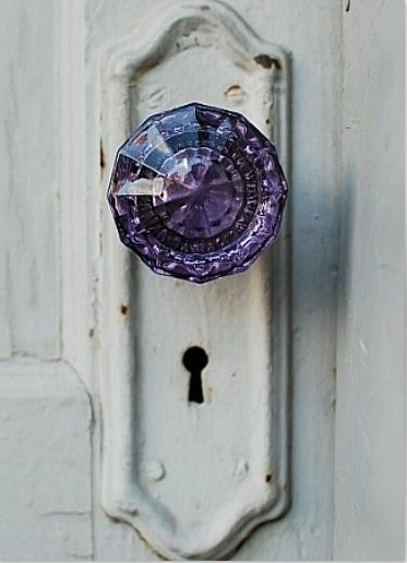 Purple Jeweled Door Handle. Goes with my crusty doors. :) I found some at @Hannah Teague Market