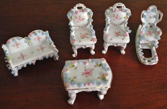 Miniature 5 piece Porcelain Victorian Dollhouse Furniture Set French German Dresden style encrusted flower appliques