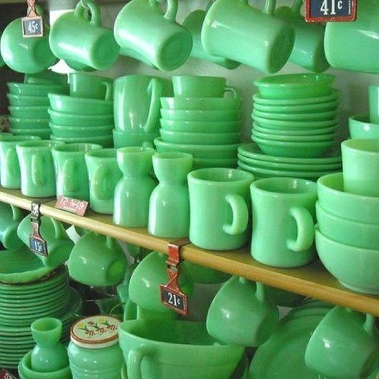 Jadeite, vintage glassware