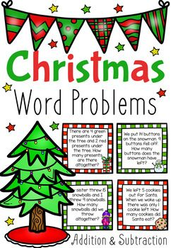 These Christmas Themed Word Problem Task Cards feature 72 different addition and subtraction word problems. The pack also includes a Word Problem Mat to help break down the process of solving word-based math problems.The pack features 36 addition problems and 36 subtraction problems of various difficulties in order to help you cater for the various needs of your students.