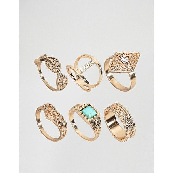 ASOS Pack of 6 Gold Festival Rings ($19) ❤ liked on Polyvore featuring jewelry, rings, gold, asos, asos jewelry, party jewelry, yellow gold rings and prom jewellery
