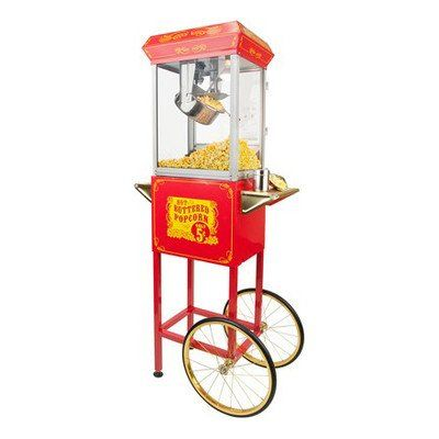 Best Kitchen Cart | FunTime Sideshow Popper 8Ounce Hot Oil Popcorn Machine with Cart RedGold * See this great product. Note:It is Affiliate Link to Amazon.