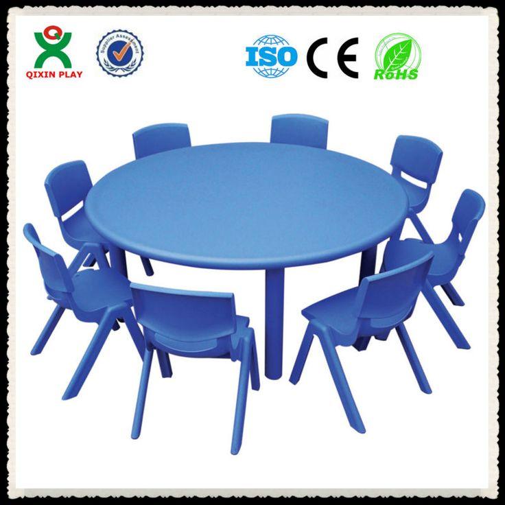 2013 charming cheap round preschool kids plastic chairs and tables/desk/kindergarten furniture QX-B7102