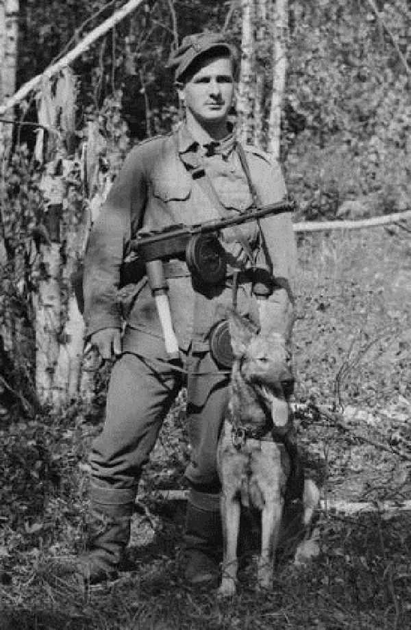 Finnish soldier with a dog.