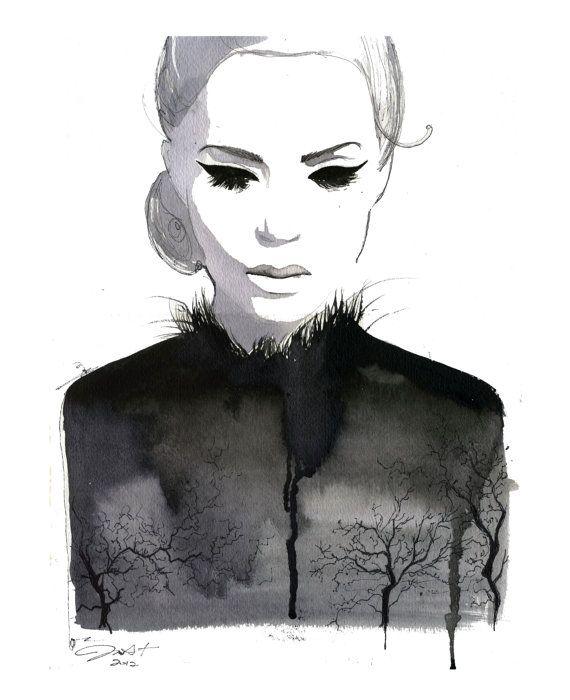 Aquarell Bäume als Venen print von JessicaIllustration auf Etsy