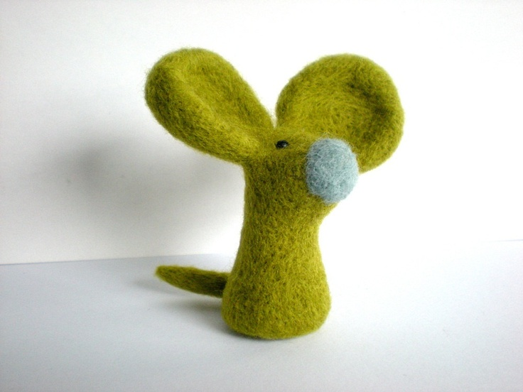 Green Felt Mouse - Needle Felted Light Olive Mouse Sculpture. £7.65, via Etsy.