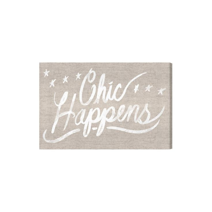 "Oliver Gal Unframed Wall ""Chic Happens Burlap"" Canvas Art (24x16), Brown White"