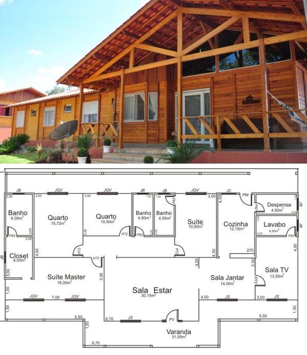 Plantas de casa de madeira 5 modelos para construir for Modelos de casas para construir