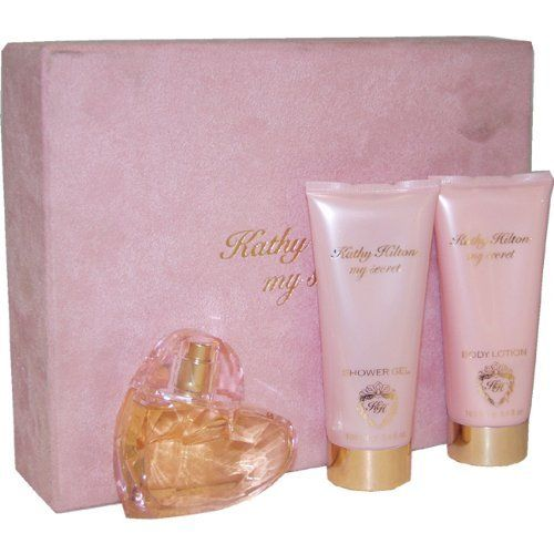 Kathy Hilton My Secret By Kathy Hilton, 3-Count by Kathy Hilton. $38.94. Kathy Hilton My Secret by Kathy Hilton for Women - 3 Pc Gift Set 1.7oz EDP Spray, 3.4oz Shower Gel, 3.4oz Body Lotion. It is recommended for casual wear. 3 Pc Gift Set 1.7oz EDP Spray, 3.4oz Shower Gel, 3.4oz Body Lotion. Kathy Hilton My Secret was launched by the design house of Kathy Hilton. This product is a fragrance item that comes in a giftset. It is recommended for casual wear.. Save 51%!