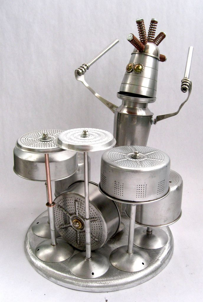 Topper 453 - Found Object Robot Assemblage Sculpture   by adopt-a-bot