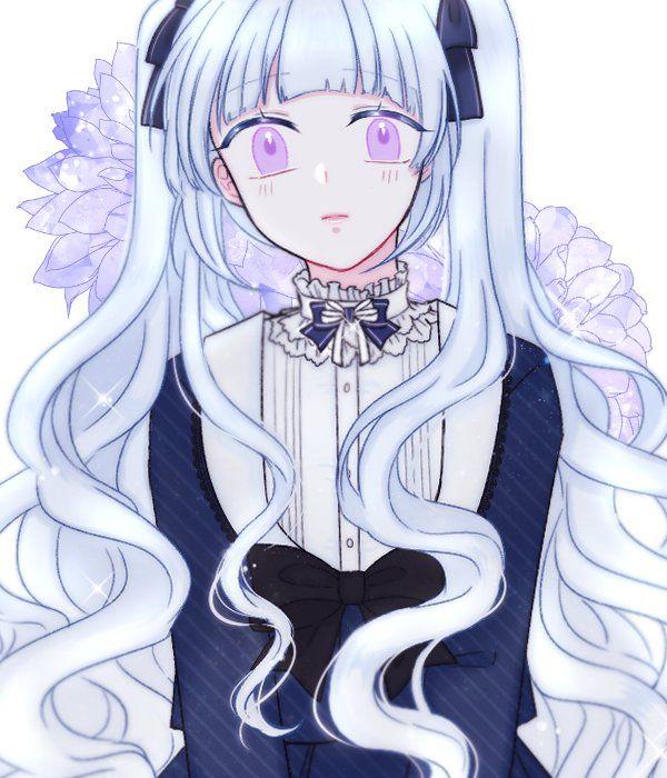Amazing Anime Art Blue Cute Flower Girl Gothic Hair