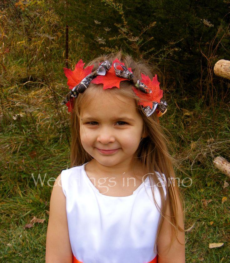 Flower Girl Camo and Leaf Wreath Rustic Wedding